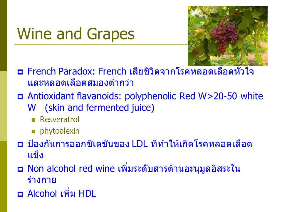 Wine and Grapes  French Paradox: French เสียชีวิตจากโรคหลอดเลือดหัวใจ และหลอดเลือดสมองต่ำกว่า  Antioxidant flavanoids: polyphenolic Red W>20-50 whit
