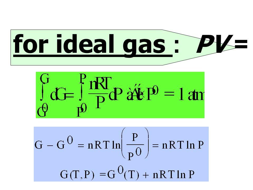for Solid & Liquid V ไม่เป็นฟังก์ชันกับ P  G = V(P 2 - P 1 ) หรือ  G = G(T,P) - G O (T) = V( P 2 - P 1 ) G(T,P) = G O (T) - V( P 2 - 1) หรือ G(T,P)