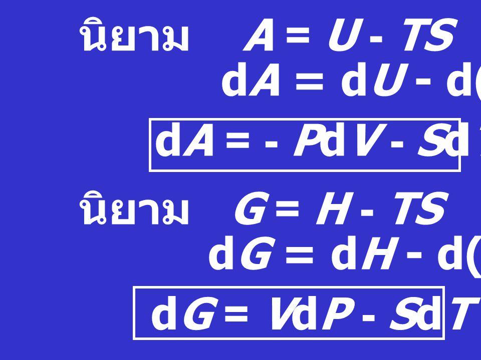 สมการพื้นฐานทางเทอร์โมไดนามิกส์ กฎข้อที่ 1 :  U = q + W หรือ d U = Dq + DW dU = TdS - PdV... (1) นิยาม H = U + PV dH = dU + d(PV) = (TdS - PdV) + (Pd