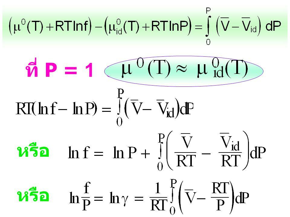 d(  -  id ) = (V - V id )dP ถ้าอินติเกรด จาก P' ฎ P จะได้ (  -  id ) - (  ' -  ' id ) = ( V - V id )dP ถ้า P ' ฎ 0:  ' =  ' id ;  ' -  ' id