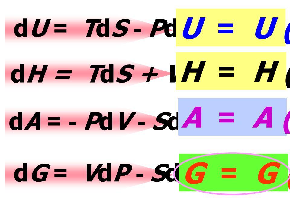นิยาม A = U - TS dA = dU - d(TS) dA = - PdV - SdT.... (3) นิยาม G = H - TS dG = dH - d(TS) dG = VdP - SdT... (4)