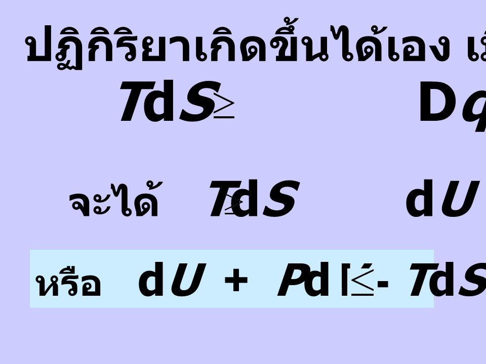 จาก 1 st law : dU = Dq + DW 1. การเปลี่ยนแปลงที่อุณหภูมิ และปริมาตรคงที่ Dq = dU - DW Dq = dU + PdV