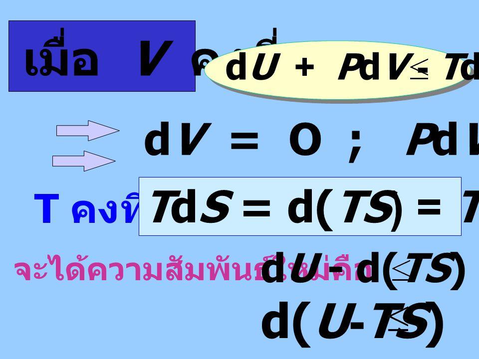 ปฏิกิริยาเกิดขึ้นได้เอง เมื่อ TdS Dq rev จะได ้ TdS dU + PdV หรือ dU + PdV - TdS O