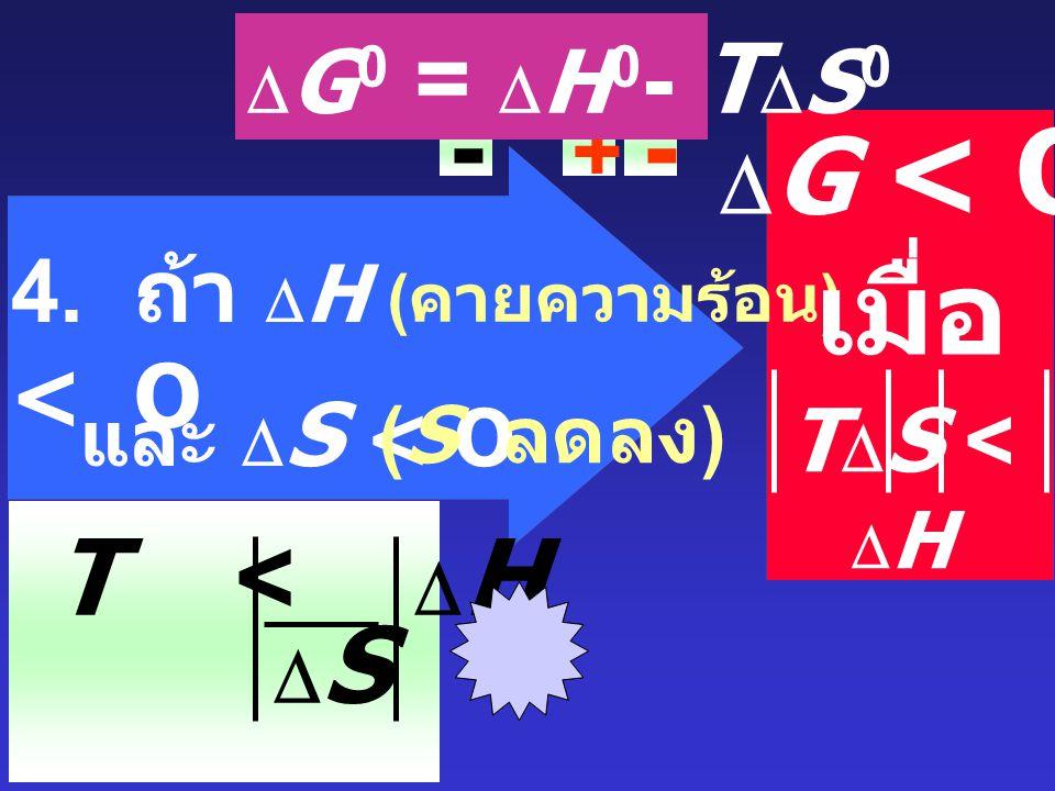 3. ถ้า  H > O ( ดูดความร้อน ) + และ  S > O (S เพิ่มขึ้น ) + +  G < O เมื่อ T  S >  H  G 0 =  H 0 - T  S 0 T >  H SS