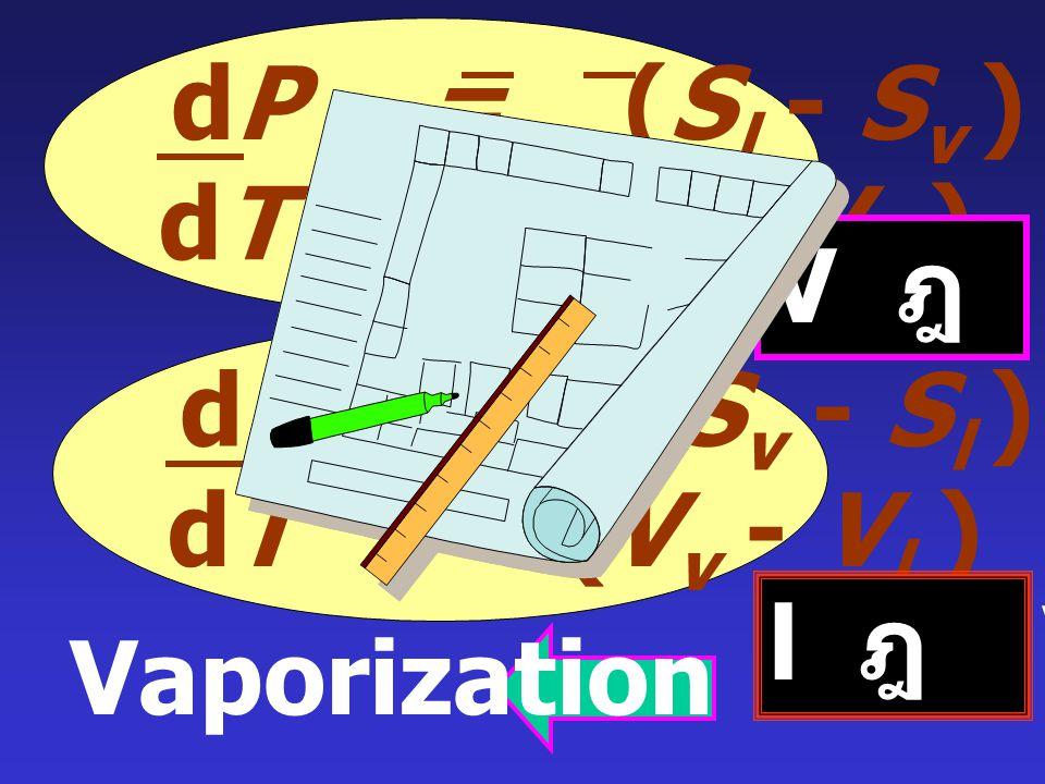 แทนค่า dG = VdP - SdT V l dP - S l dT = V v dP - S v dT (V l - V v )dP = (S l - S v ) dT