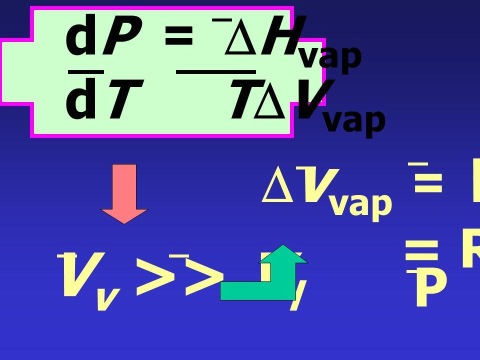 dP =  S vap dT  V vap ที่สมดุล :  G = 0 =  H vap - T  S vap dP =  H vap dT T  V vap