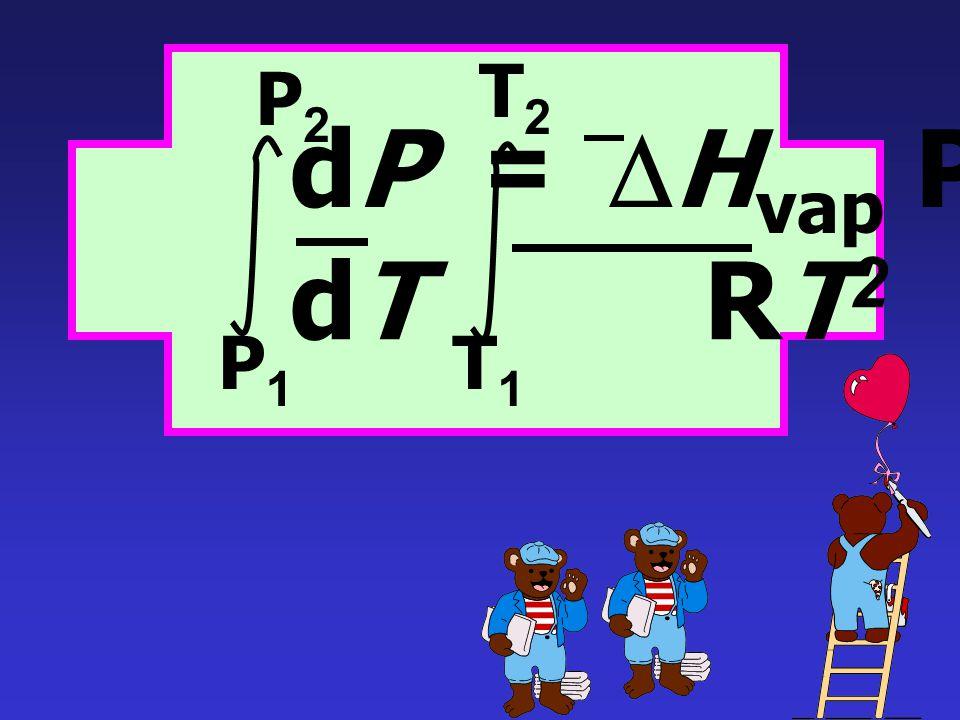 สำหรับกระบวนการการกลายเป็นไอ (Vaporization) dP =  H vap P dT RT 2