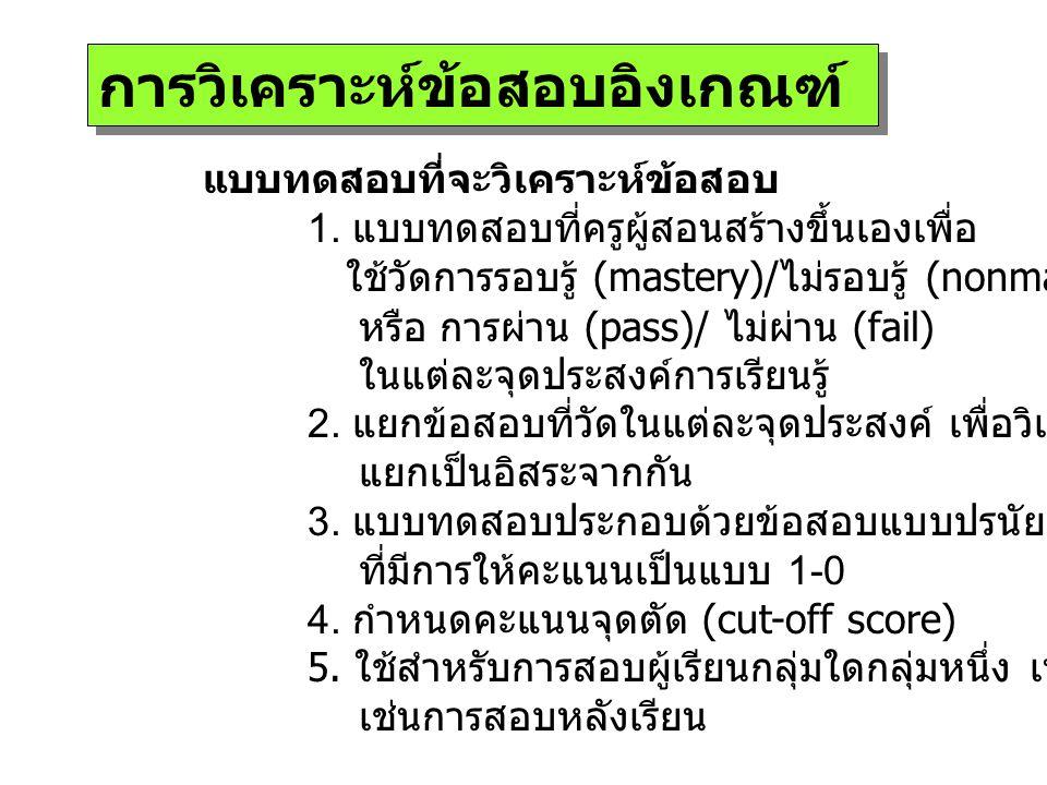 ขั้นตอนการวิเคราะห์ข้อสอบ 1.ตรวจให้คะแนนผลการตอบข้อสอบ ( ตอบถูกให้ 1 ตอบผิดให้ 0) 2.