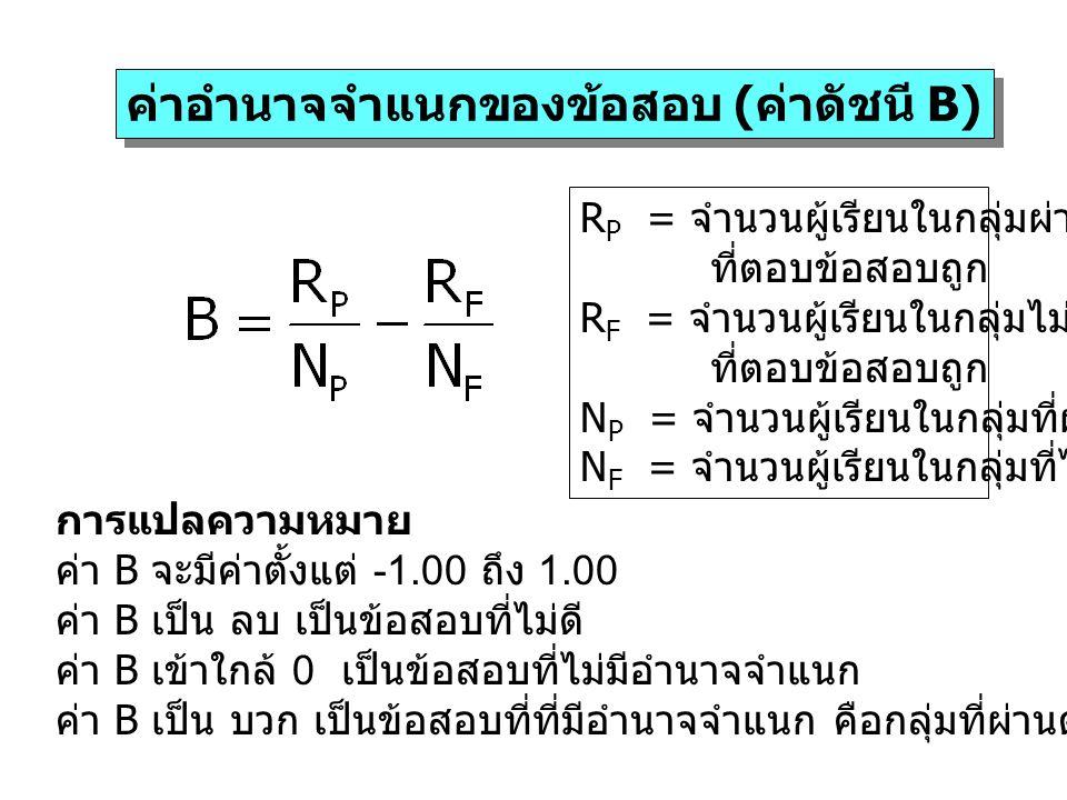 ค่าอำนาจจำแนกของข้อสอบ (ค่าดัชนี B) R P = จำนวนผู้เรียนในกลุ่มผ่าน ที่ตอบข้อสอบถูก R F = จำนวนผู้เรียนในกลุ่มไม่ผ่าน ที่ตอบข้อสอบถูก N P = จำนวนผู้เรี