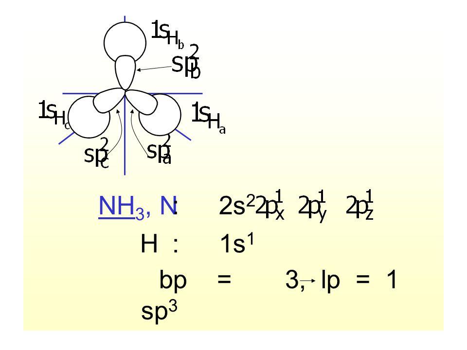 NH 3, N :2s 2 bp = 3, lp = 1 sp 3 hybridization H:1s 1