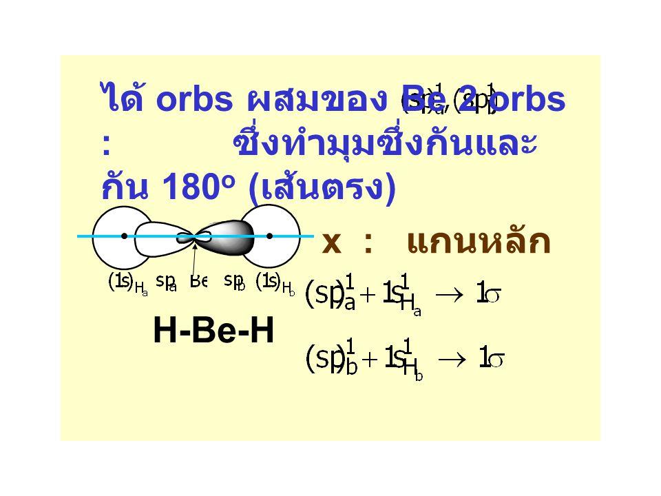 x : แกนหลัก ได้ orbs ผสมของ Be 2 orbs : ซึ่งทำมุมซึ่งกันและ กัน 180 o ( เส้นตรง ) H-Be-H