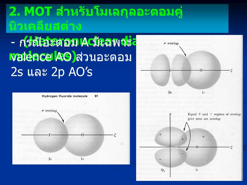 2. MOT สำหรับโมเลกุลอะตอมคู่ นิวเคลียสต่าง (Heteronuclear diatomic molecules) - กรณีอะตอม A มีเฉพาะ 1s valence AO ส่วนอะตอม B มีทั้ง 2s และ 2p AO's