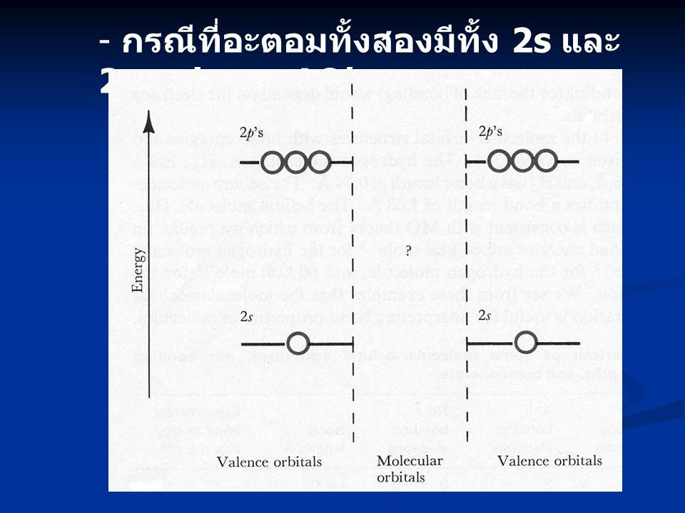- กรณีที่อะตอมทั้งสองมีทั้ง 2s และ 2p valence AO's