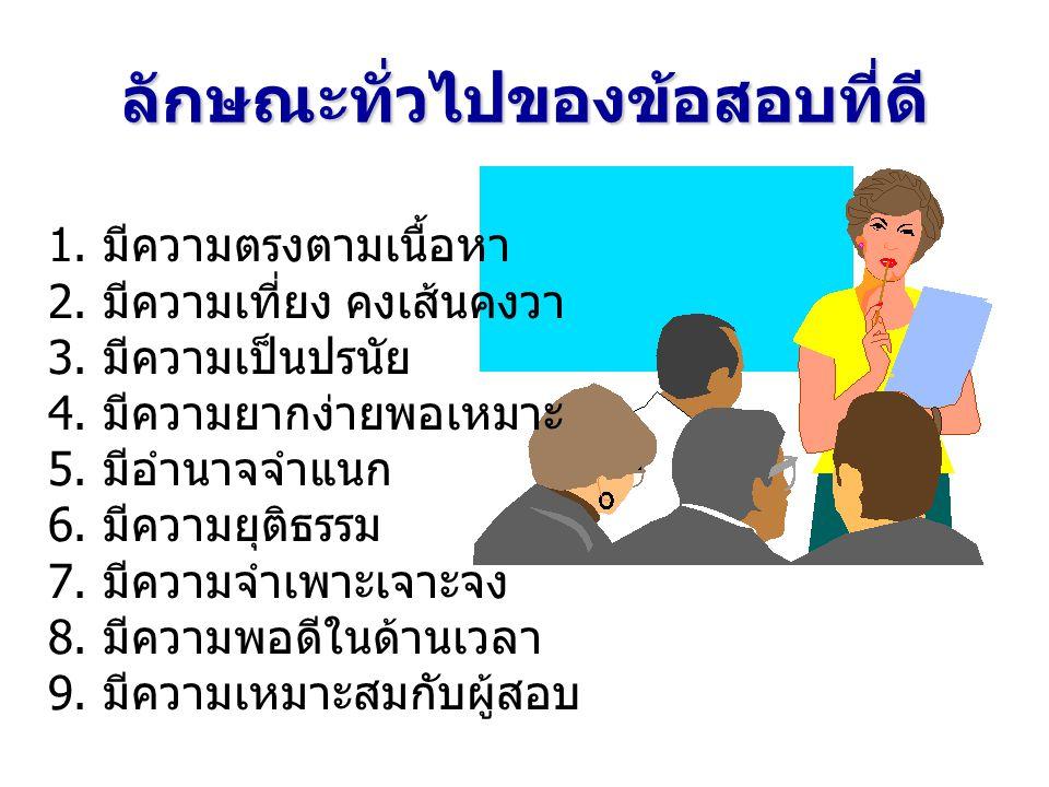 ขั้นตอนการสร้างแบบทดสอบที่ครูสร้าง (Teacher-made Test) 1.