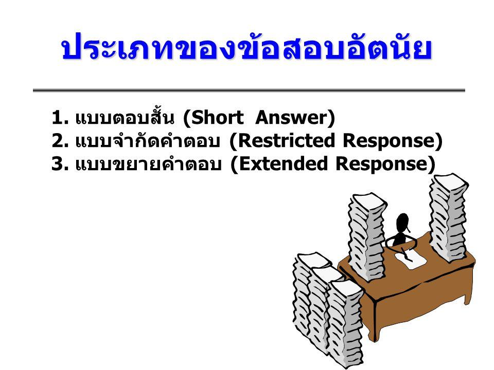 ประเภทของข้อสอบอัตนัย 1. แบบตอบสั้น (Short Answer) 2. แบบจำกัดคำตอบ (Restricted Response) 3. แบบขยายคำตอบ (Extended Response)