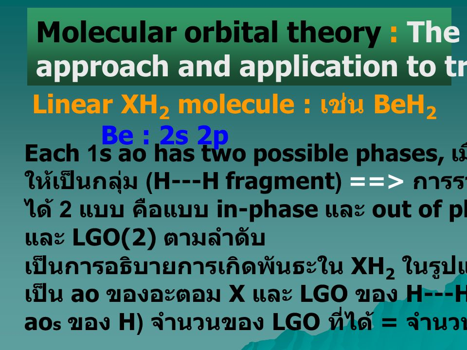 Molecular orbital theory : The ligand group orbital approach and application to triatomic molecules Each 1s ao has two possible phases, เมื่อรวม 1s สอ