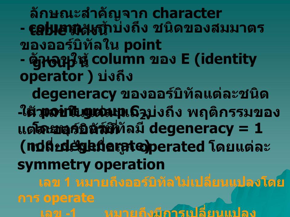 - ตัวเลขใน column ของ E (identity operator ) บ่งถึง degeneracy ของออร์บิทัลแต่ละชนิด ใน point group C 2v โดยทุกออร์บิทัลมี degeneracy = 1 (non-degener