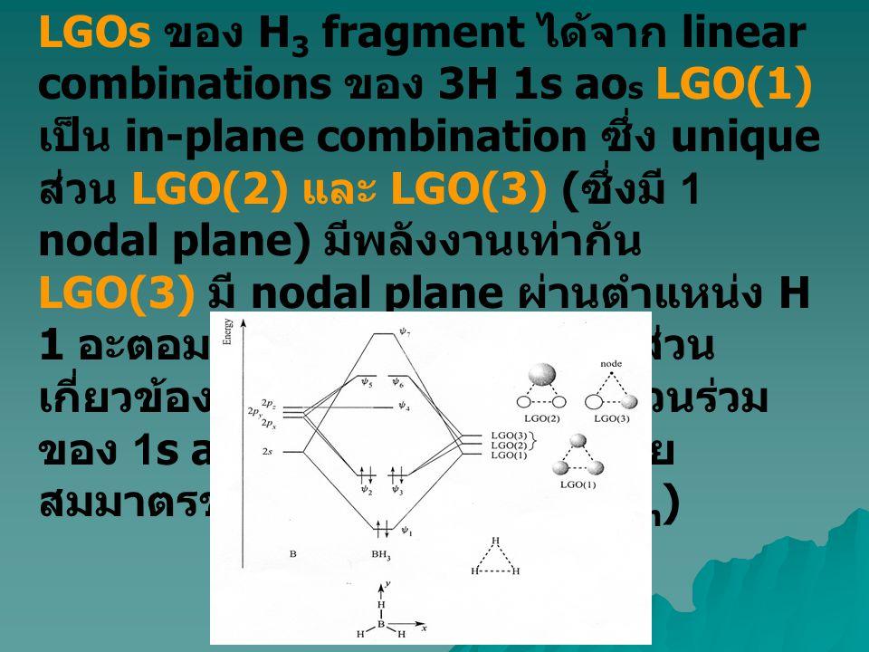 LGOs ของ H 3 fragment ได้จาก linear combinations ของ 3H 1s ao s LGO(1) เป็น in-plane combination ซึ่ง unique ส่วน LGO(2) และ LGO(3) ( ซึ่งมี 1 nodal p