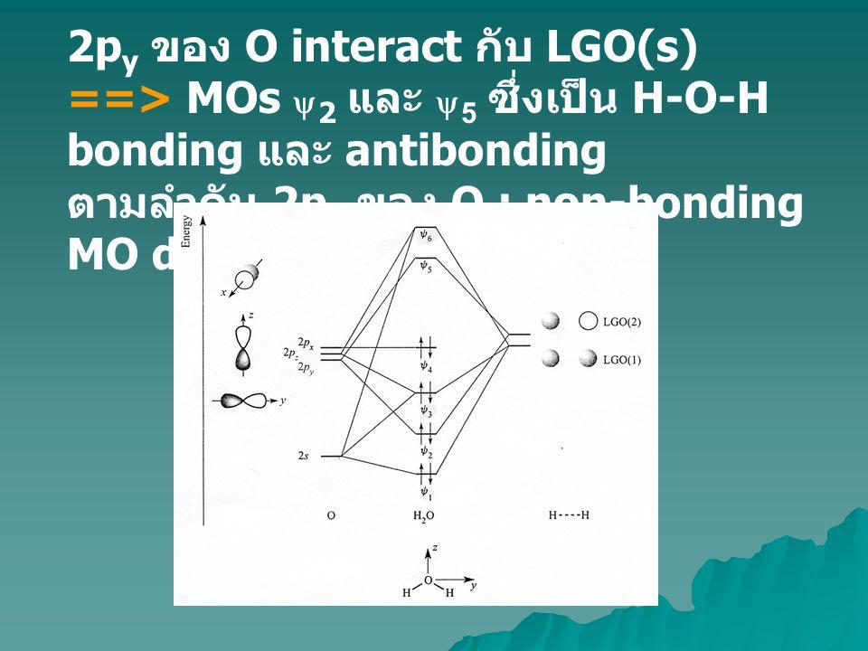 บรรจุ valence electron ทั้ง 8 ของ H 2 O ใน MOs ==> 4 อนุภาคบรรจุใน H-O-H bonding MOs และอีก 4 อนุภาคบรรจุใน MOs ที่มี O character เป็นส่วนใหญ่ ==> สอดคล้องกับ lone pairs 2 คู่ของ O Symmetry labels : a 1, b 2, e g, t 2g ใช้ระบุชนิดของ ออร์บิทัล ความสัมพันธ์ระหว่าง group theory และ orbital symmetry เป็นการอธิบายถึง สัญลักษณ์ทางสมมาตรของ MOs ใน H 2 O กรณี H 2 O point group C 2v ส่วน หนึ่งของ character table ดังตาราง Polyatomic molecules BH 3, NH 3 and CH 4