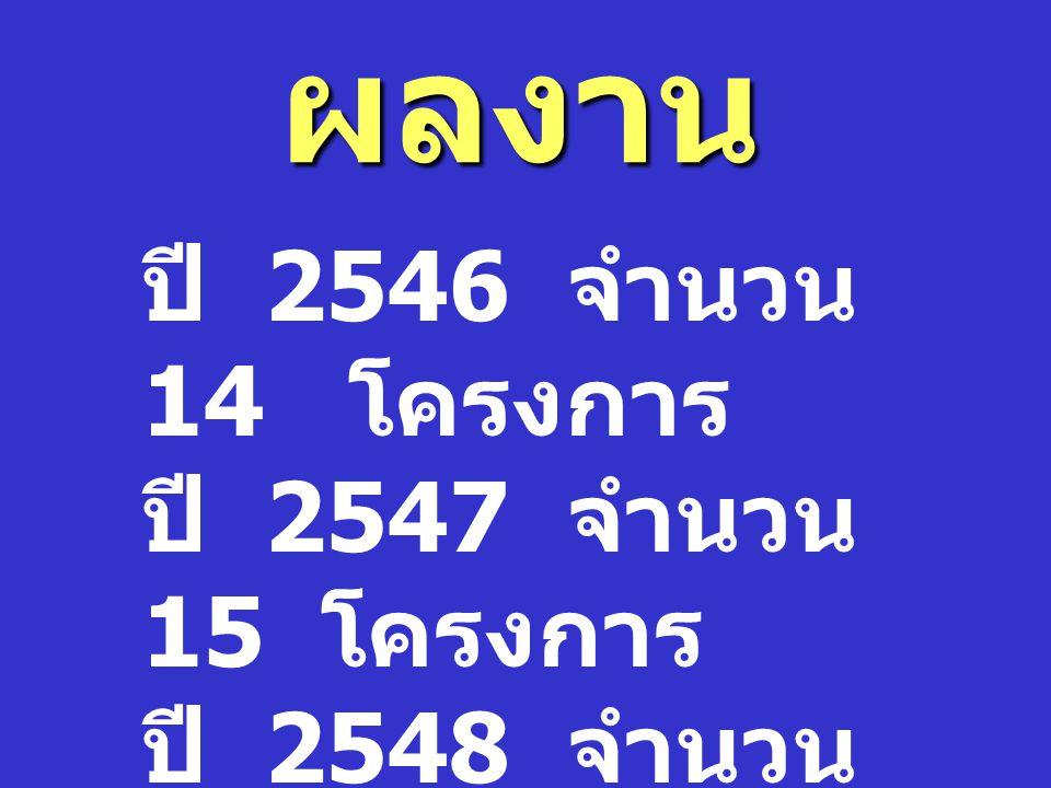 ผลงาน ปี 2546 จำนวน 14 โครงการ ปี 2547 จำนวน 15 โครงการ ปี 2548 จำนวน 15 โครงการ