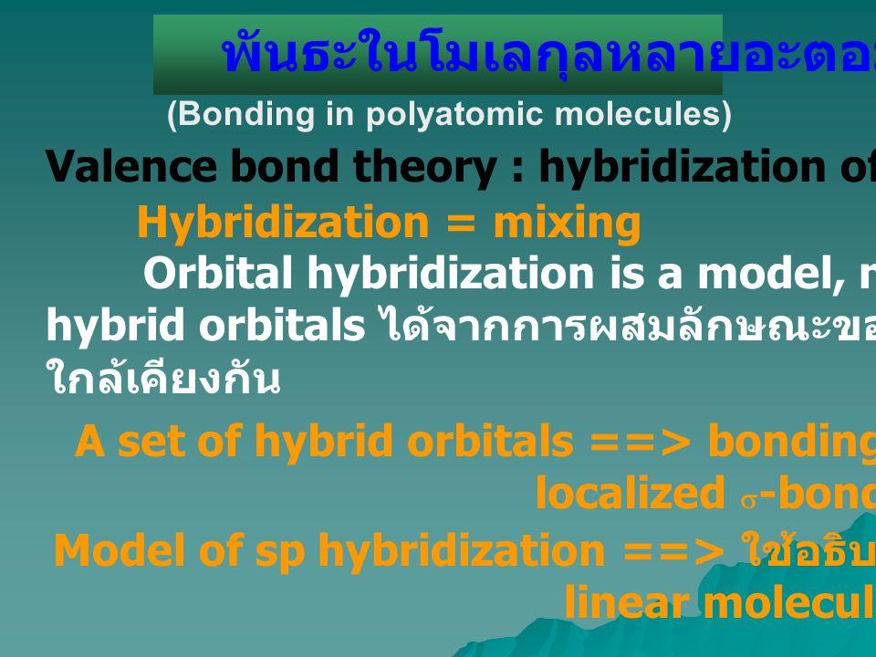 พันธะในโมเลกุลหลายอะตอม (Bonding in polyatomic molecules) Valence bond theory : hybridization of atomic orbital (ao s ) Hybridization = mixing Orbital