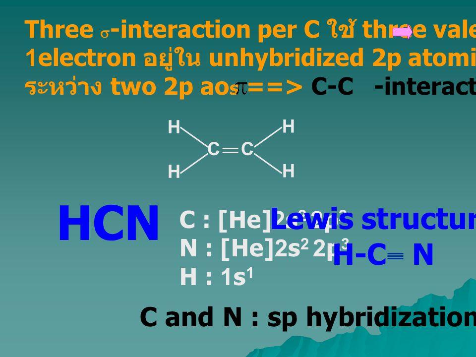 C : [He]2s 2 2p 2 N : [He]2s 2 2p 3 H : 1s 1 HCN Lewis structure H-C N C and N : sp hybridization C HHHH HHHH Three  -interaction per C ใช้ three val