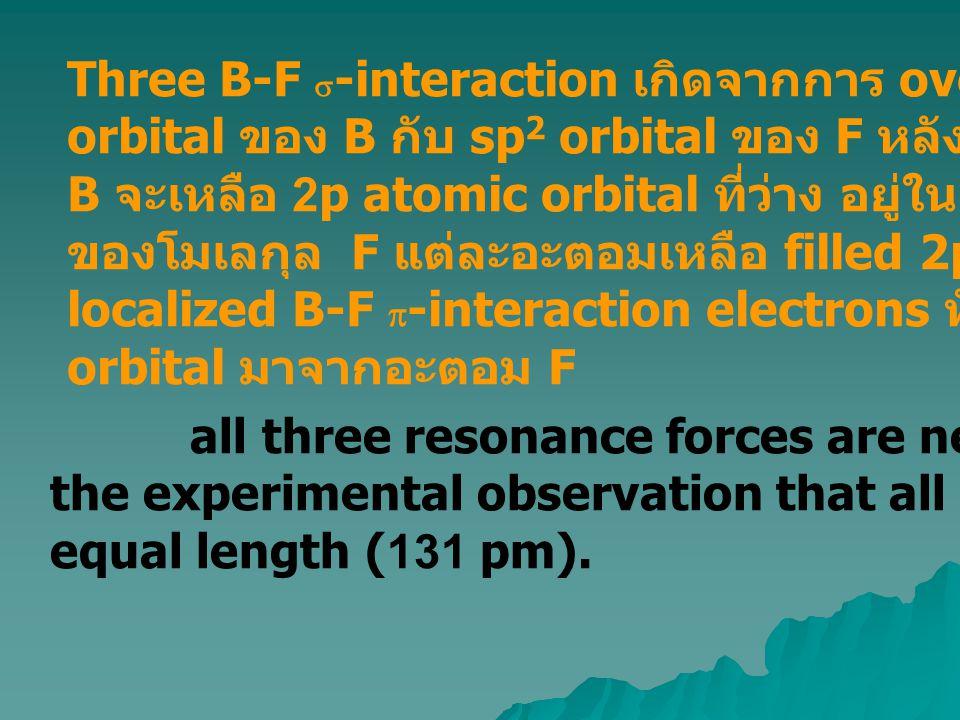 Three B-F  -interaction เกิดจากการ overlap ของ sp 2 hybrid orbital ของ B กับ sp 2 orbital ของ F หลังจากเกิด  -bonding B จะเหลือ 2p atomic orbital ที