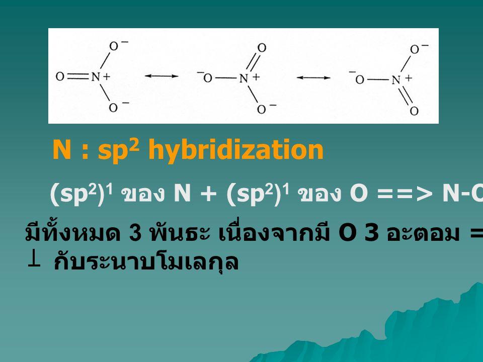 N : sp 2 hybridization (sp 2 ) 1 ของ N + (sp 2 ) 1 ของ O ==> N-O  -interaction มีทั้งหมด 3 พันธะ เนื่องจากมี O 3 อะตอม ==> N เหลือ 1(p) 1 กับระนาบโมเ