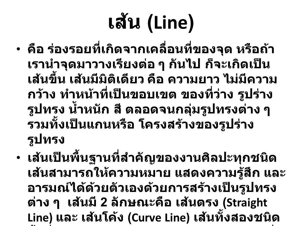 เส้น (Line) คือ ร่องรอยที่เกิดจากเคลื่อนที่ของจุด หรือถ้า เรานำจุดมาวางเรียงต่อ ๆ กันไป ก็จะเกิดเป็น เส้นขึ้น เส้นมีมิติเดียว คือ ความยาว ไม่มีความ กว