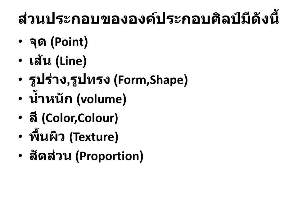 ส่วนประกอบขององค์ประกอบศิลป์มีดังนี้ จุด (Point) เส้น (Line) รูปร่าง, รูปทรง (Form,Shape) น้ำหนัก (volume) สี (Color,Colour) พื้นผิว (Texture) สัดส่วน