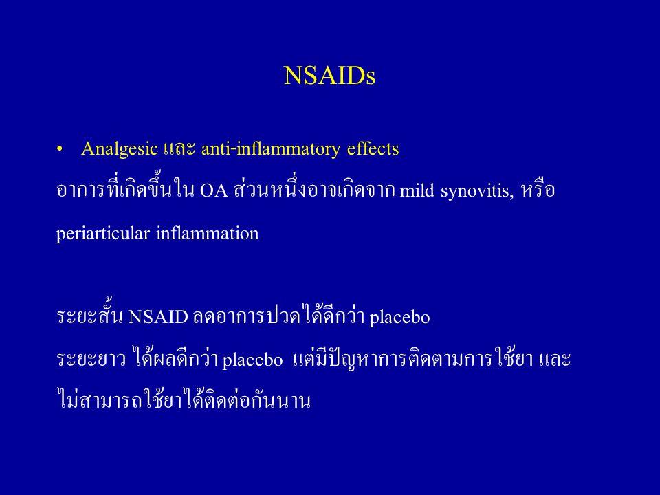 NSAIDs Analgesic และ anti-inflammatory effects อาการที่เกิดขึ้นใน OA ส่วนหนึ่งอาจเกิดจาก mild synovitis, หรือ periarticular inflammation ระยะสั้น NSAI