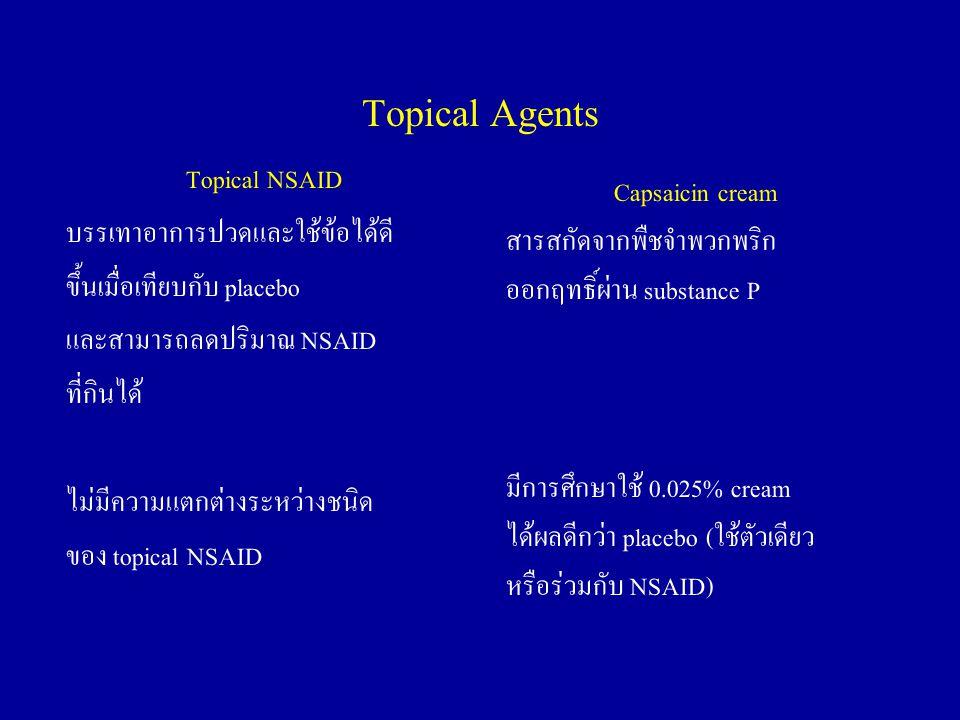 Topical Agents Topical NSAID บรรเทาอาการปวดและใช้ข้อได้ดี ขึ้นเมื่อเทียบกับ placebo และสามารถลดปริมาณ NSAID ที่กินได้ ไม่มีความแตกต่างระหว่างชนิด ของ