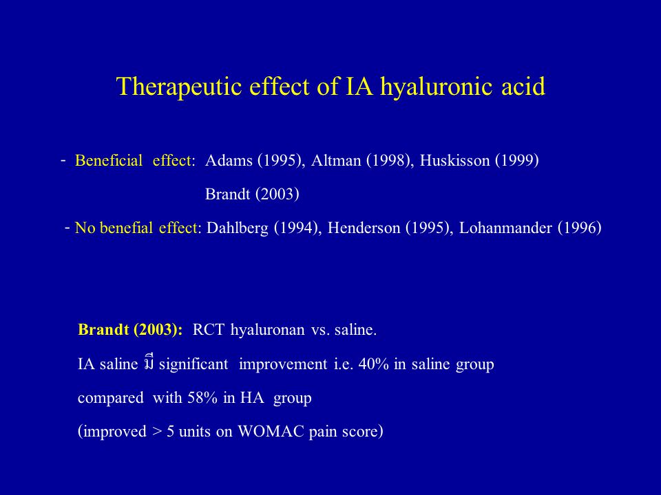 Therapeutic effect of IA hyaluronic acid - Beneficial effect: Adams (1995), Altman (1998), Huskisson (1999) Brandt (2003) - No benefial effect: Dahlberg (1994), Henderson (1995), Lohanmander (1996) Brandt (2003): RCT hyaluronan vs.