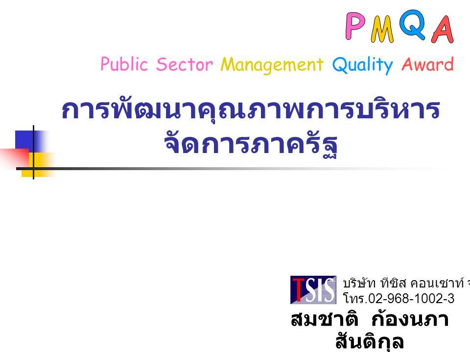 การพัฒนาคุณภาพการบริหาร จัดการภาครัฐ บริษัท ทีซิส คอนเซาท์ จำกัด โทร.02-968-1002-3 Public Sector Management Quality Award สมชาติ ก้องนภา สันติกุล