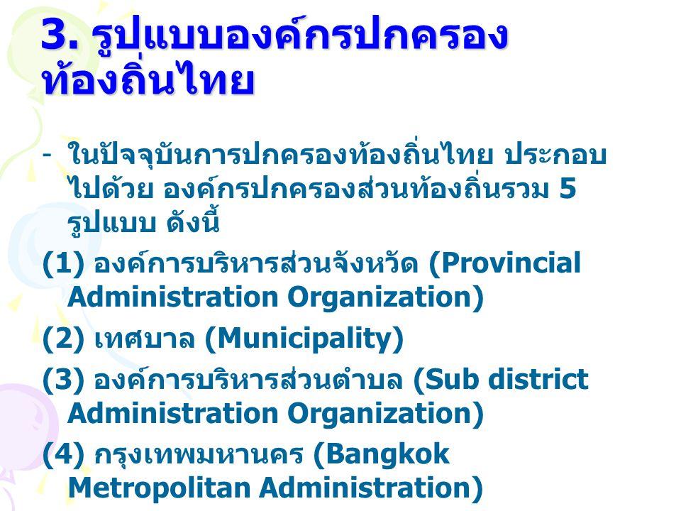 3. รูปแบบองค์กรปกครอง ท้องถิ่นไทย - ในปัจจุบันการปกครองท้องถิ่นไทย ประกอบ ไปด้วย องค์กรปกครองส่วนท้องถิ่นรวม 5 รูปแบบ ดังนี้ (1) องค์การบริหารส่วนจังห
