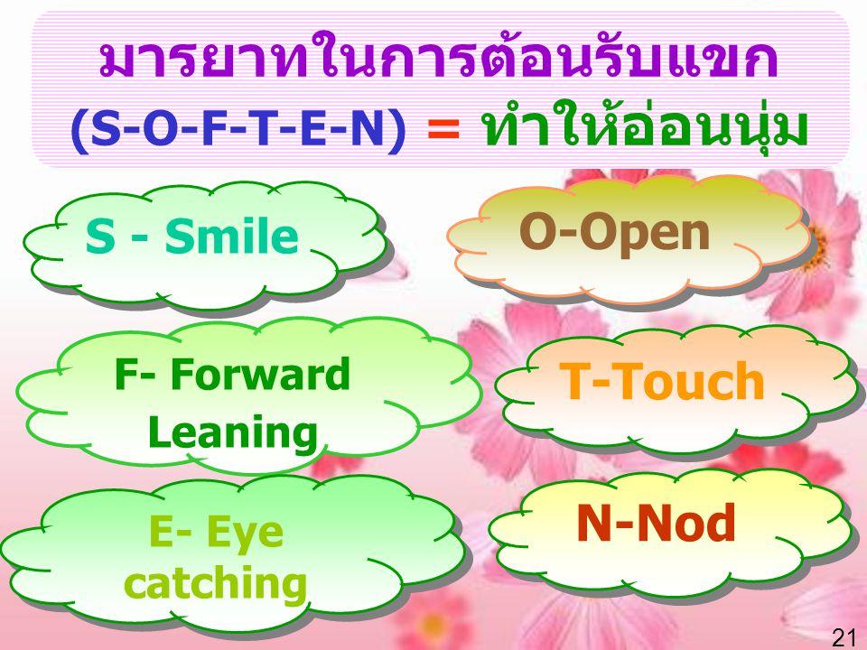21 มารยาทในการต้อนรับแขก (S-O-F-T-E-N) = ทำให้อ่อนนุ่ม S - Smile O-Open T-Touch N-Nod F- Forward Leaning E- Eye catching