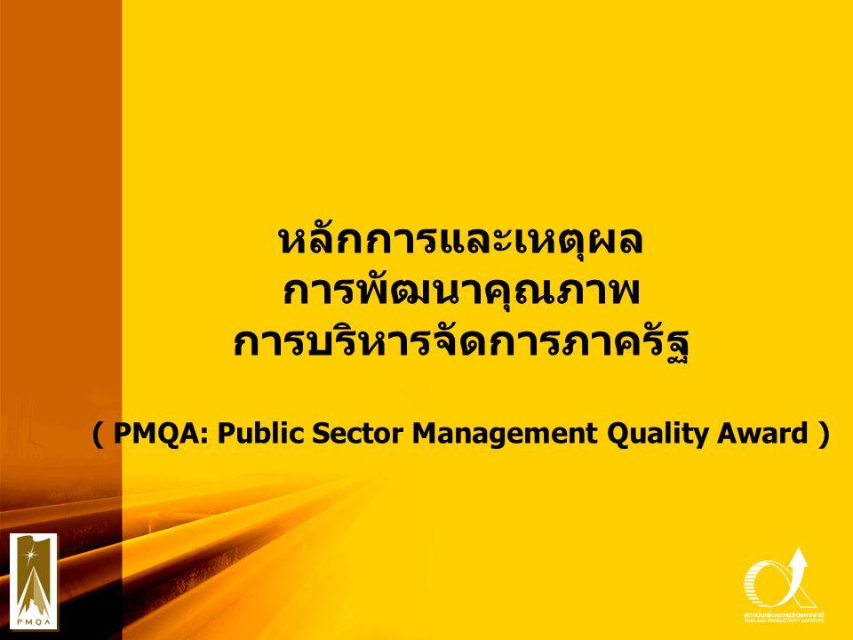 หลักการและเหตุผล การพัฒนาคุณภาพ การบริหารจัดการภาครัฐ ( PMQA: Public Sector Management Quality Award )