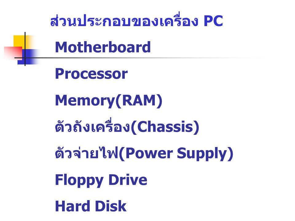ส่วนประกอบของเครื่อง PC Motherboard Processor Memory(RAM) ตัวถังเครื่อง (Chassis) ตัวจ่ายไฟ (Power Supply) Floppy Drive Hard Disk