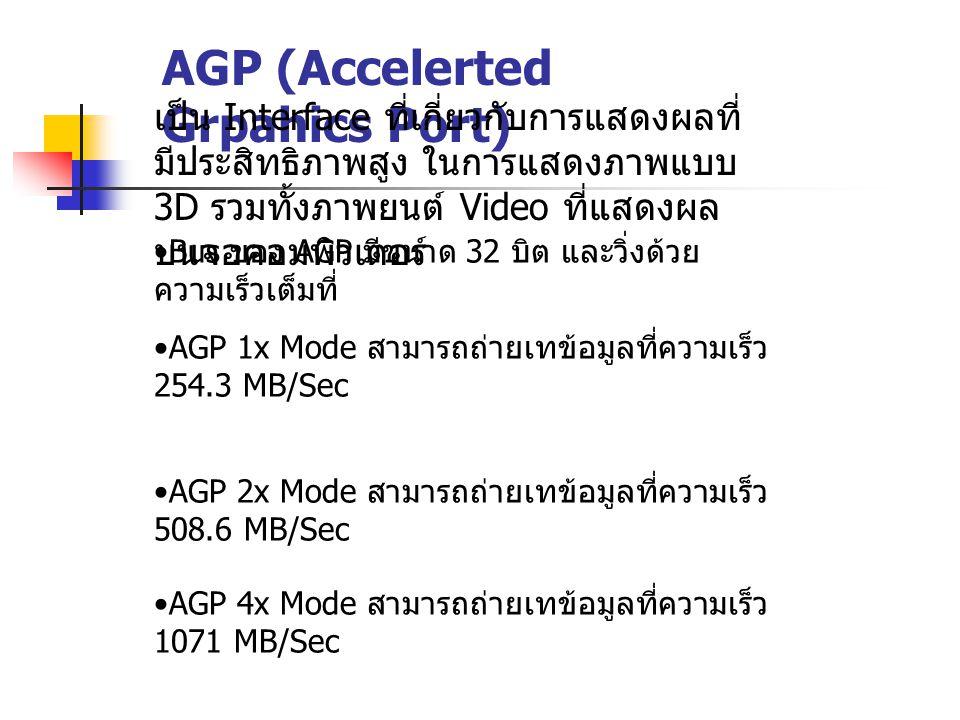 AGP (Accelerted Grpahics Port) เป็น Interface ที่เกี่ยวกับการแสดงผลที่ มีประสิทธิภาพสูง ในการแสดงภาพแบบ 3D รวมทั้งภาพยนต์ Video ที่แสดงผล บนจอคอมพิวเต