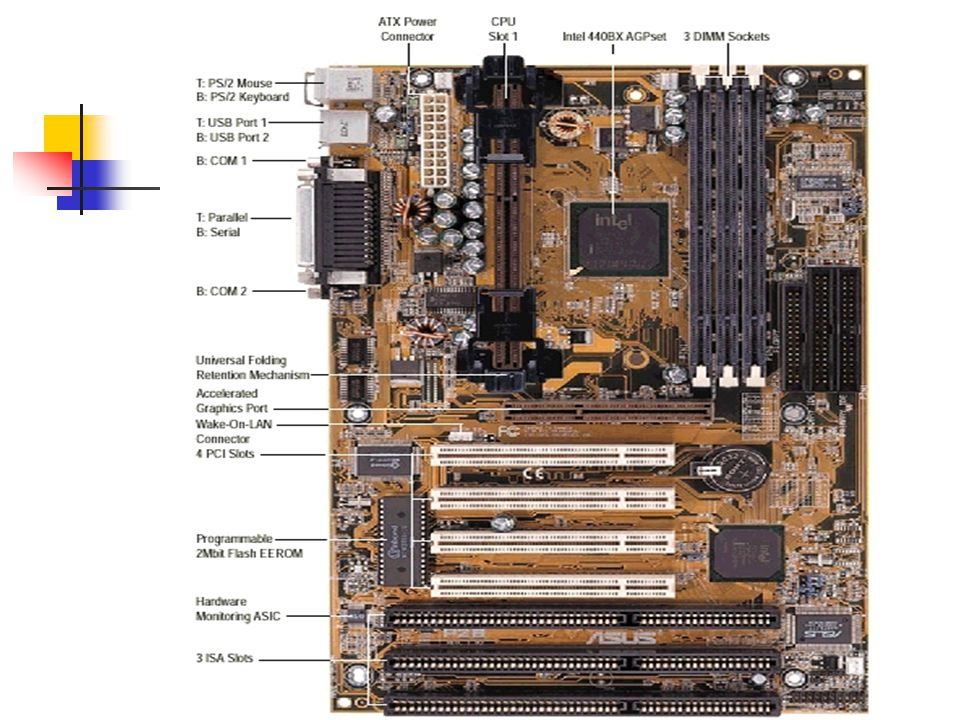 ระบบ PCI Bus ประกอบด้วย Chipset ทำ หน้าที่เป็นสะพานเชื่อมระหว่าง Processor กับ PCI Extension Slot PCI Bus มีระบบตรวจสอบความผิดพลาดและ รายงานขณะส่งถ่ายข้อมูล ระบบ PCI Bus มี 2 แบบ คือแบบ 32 บิต ใช้ไฟ 3v และแบบ 64 บิต ใช้ไฟ 5v อุปกรณ์ที่ถูกออกแบบมาใช้งานกับ PCI Bus จะใช้ เวลาในการเข้าถึง(Access ) ต่ำ