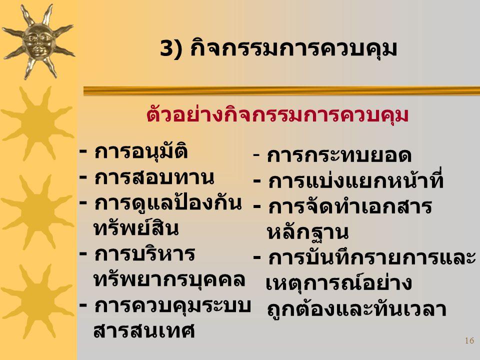 16 3) กิจกรรมการควบคุม ตัวอย่างกิจกรรมการควบคุม - การอนุมัติ - การสอบทาน - การดูแลป้องกัน ทรัพย์สิน - การบริหาร ทรัพยากรบุคคล - การควบคุมระบบ สารสนเทศ
