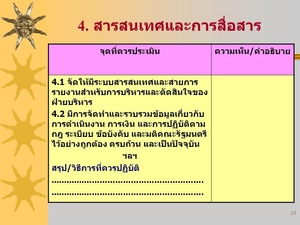 26 4. สารสนเทศและการสื่อสาร จุดที่ควรประเมินความเห็น/คำอธิบาย 4.1 จัดให้มีระบบสารสนเทศและสายการ รายงานสำหรับการบริหารและตัดสินใจของ ฝ่ายบริหาร 4.2 มีก