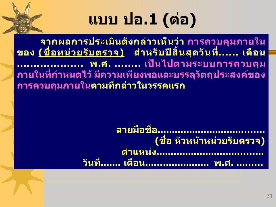 31 แบบ ปอ.1 (ต่อ) จากผลการประเมินดังกล่าวเห็นว่า การควบคุมภายใน ของ (ชื่อหน่วยรับตรวจ) สำหรับปีสิ้นสุดวันที่...... เดือน.................... พ.ศ......
