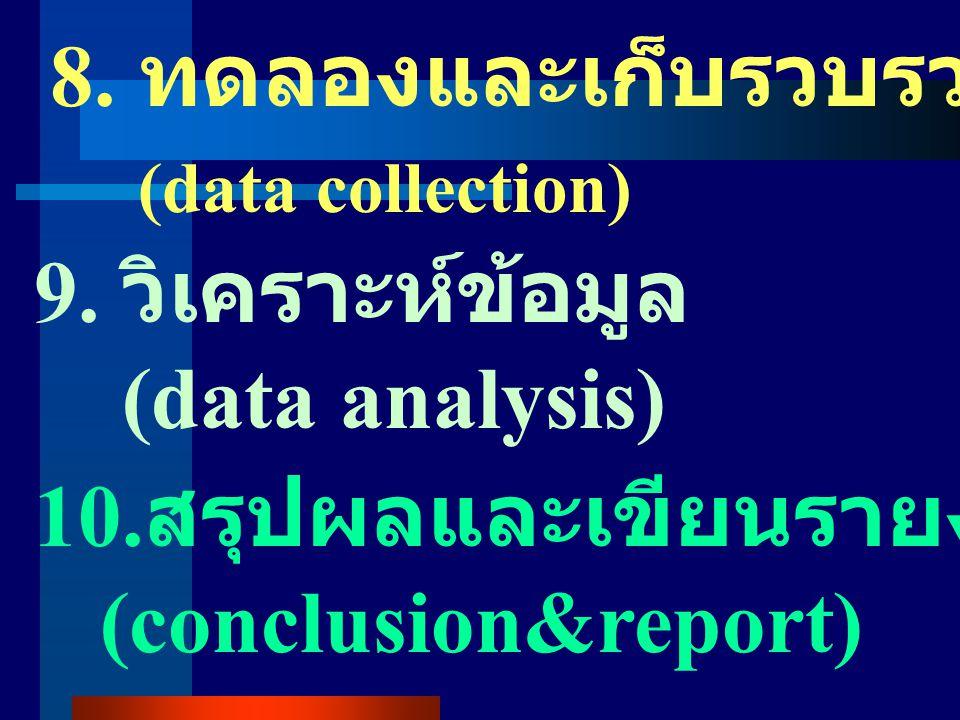 4. ออกแบบแผนการวิจัย (research design) 5. เลือกกลุ่มตัวอย่าง (samples) 6. เครื่องมือ (instrumentation) 7. สถิติที่ใช้ (statistics)