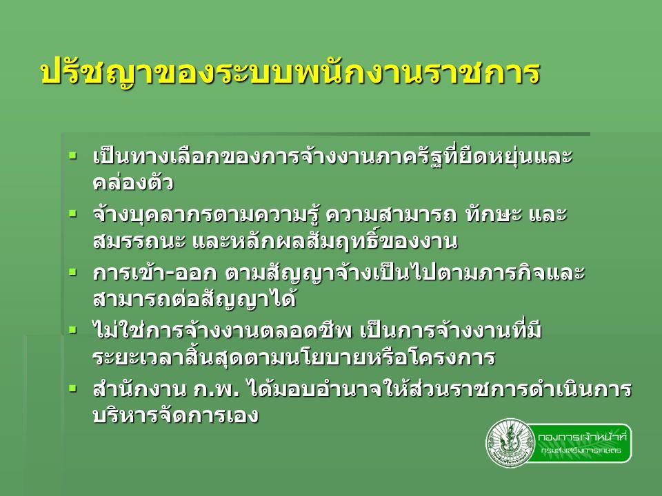 การจัดจ้างพนักงานราชการ  กรณีที่สัญญาจ้างพนักงานราชการสิ้นสุดลง และส่วนราชการมีภาระงานซึ่งจำเป็นต้องต่อ สัญญาจ้าง ส่วนราชการต้องทำสัญญาจ้างใหม่ ตามแนวทางปฏิบัติของการทำสัญญาจ้างครั้ง แรก  ผู้ที่จะได้รับการต่อสัญญาจ้างจะต้องมีคะแนน เฉลี่ยของผลการประเมินผลการปฏิบัติงาน 2 ครั้งติดต่อกันในปีที่จะต่อสัญญาจ้างไม่ต่ำกว่า ระดับดี
