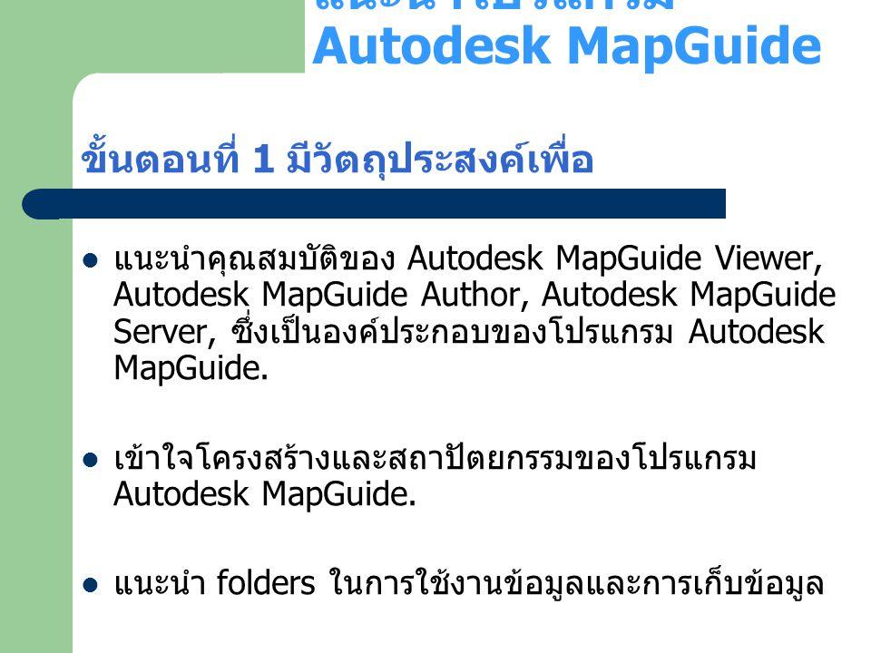 แนะนำโปรแกรม Autodesk MapGuide ขั้นตอนที่ 1 มีวัตถุประสงค์เพื่อ แนะนำคุณสมบัติของ Autodesk MapGuide Viewer, Autodesk MapGuide Author, Autodesk MapGuid