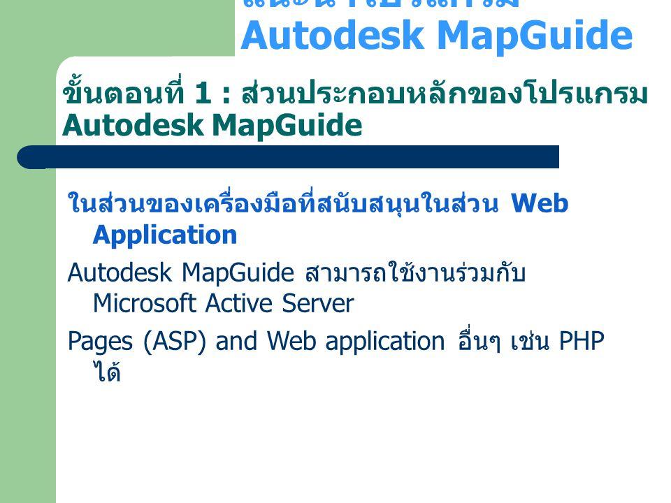 ขั้นตอนที่ 1 : ส่วนประกอบหลักของโปรแกรม Autodesk MapGuide ในส่วนของเครื่องมือที่สนับสนุนในส่วน Web Application Autodesk MapGuide สามารถใช้งานร่วมกับ M