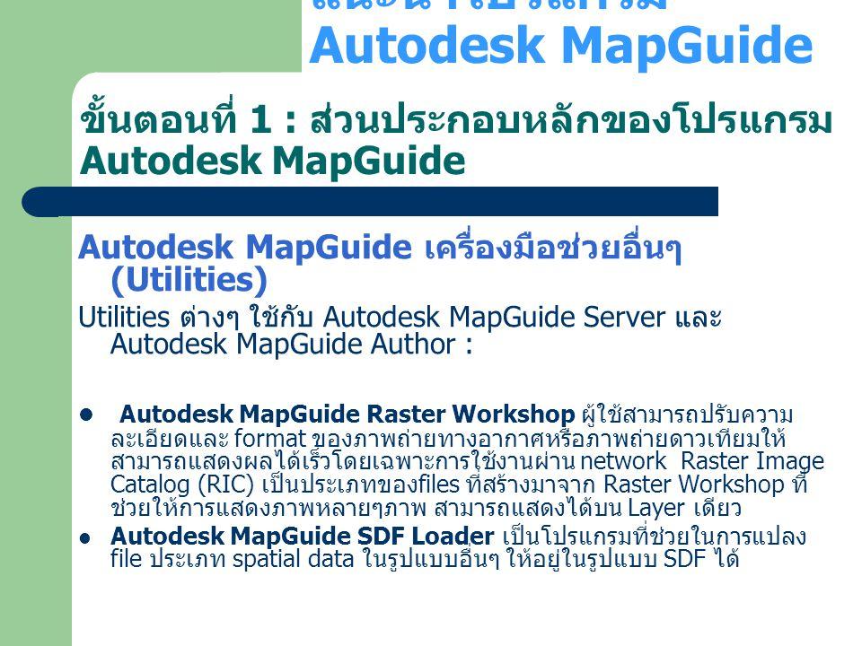 Autodesk MapGuide เครื่องมือช่วยอื่นๆ (Utilities) Utilities ต่างๆ ใช้กับ Autodesk MapGuide Server และ Autodesk MapGuide Author : Autodesk MapGuide Ras