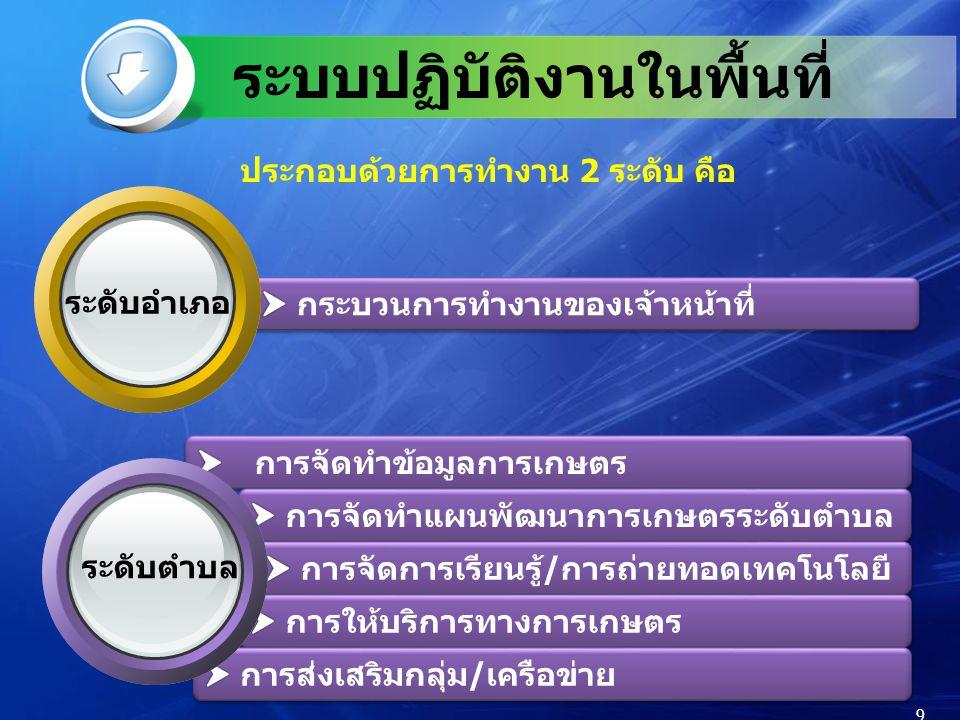 ประกอบด้วยการทำงาน 2 ระดับ คือ 9 ระดับตำบล ระดับอำเภอ ระบบปฏิบัติงานในพื้นที่ 9