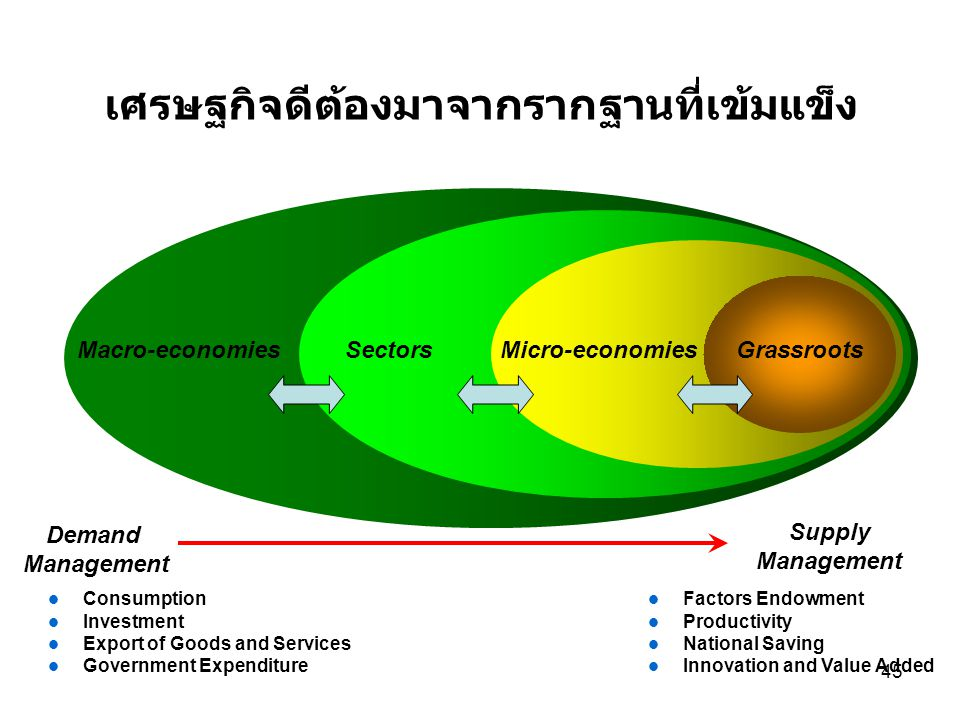 45 Supply Management Factors Endowment Productivity National Saving Innovation and Value Added Demand Management Consumption Investment Export of Goods and Services Government Expenditure เศรษฐกิจดีต้องมาจากรากฐานที่เข้มแข็ง GrassrootsMicro-economiesMacro-economiesSectors